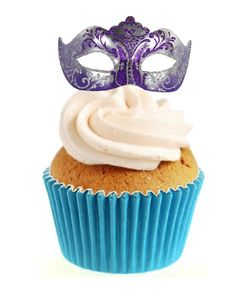 IMAGE PRINTED ON PREMIUM WAFER PAPER. MASQUERADE MASK PURPLE - 12 STAND UP CAKE TOPPERS. INGREDIENTS: POTATO STARCH, WATER, VEGETABLE OIL. THESE ARE NOT PRECUT - SO EASY TO CUT AROUND WITH SCISSORS OR A CRAFT KNIFE.