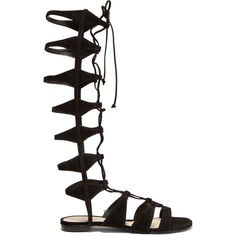 Schutz - Shyla Lace-up Suede Gladiator Sandals ($130) ❤ liked on Polyvore featuring shoes, sandals, black, strappy lace up sandals, black strappy sandals, black gladiator sandals, black suede shoes and black sandals