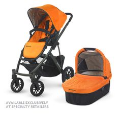 UPPAbaby VISTA in Drew! Our new, bright tangerine color available at specialty retailers.