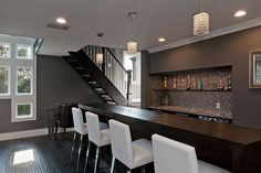 Hardwood, Crown molding, Contemporary, Modern, Pendant; most beautiful & modern downstairs bar area I've ever seen - IN LOVE