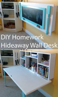 DIY Homework Hideaway Wall Desk #seizetheidea