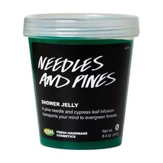 Needles And Pines- jelly made from softening carrageenan extract. An infusion of pine needles and cypress leaf combines with pine nut oil to create the scents of verdant Finnish woodlands while transporting your mind to a peaceful place