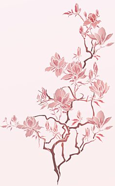 Beautiful, elegant magnolia flowers and tree theme pack stencil. Large 3 sheet, 2 layer stencil, with 11 flower, bud and branch stencil motifs. Magnolia Trees, Magnolia Flower, Bunch Of Flowers, Different Flowers, Tree Stencil, Stencils, Gold Leaf Art, Twisted Tree, Stencil Printing