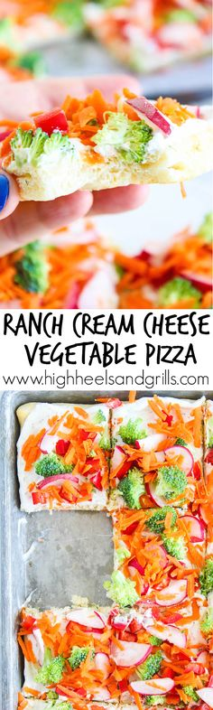 Ranch Cream Cheese Vegetable Pizza Ranch Cream Cheese Vegetable Pizza - We made this for my daughter's birthday party and everyone loved it! It is so easy to make and tastes amazing! Pizza Legume, Veggie Pizza, Pizza Pizza, Cold Vegetable Pizza, Pizza Bomb, Veggie Bites, Pizza Rolls, Vegetable Recipes, Appetizers For Party