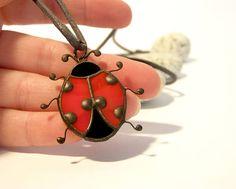 Stained Glass Red Ladybug Suncatchers Necklace Ladybug