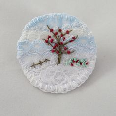 Winter Berries Brooch Hand Embroidered Layered Lace £10.00