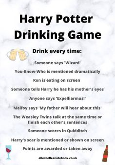 Best Movies to Play the Drinking Game On - EllesBellesNotebook Harry Potter Film, Harry Potter Drinks, Harry Potter Games, Harry Potter Theme, Harry Potter Drinking Games, Halloween Drinking Games, Movie Drinking Games, Drinking Games For Parties, College Drinking Games