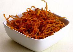 Sweet Potato  make the perfect crunchy soup topping to a creamy soup. #sweetpotatorecipes #souptoppings