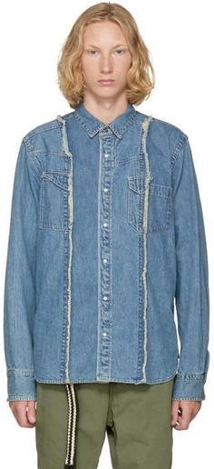 Sacai Blue Denim Patchwork Shirt