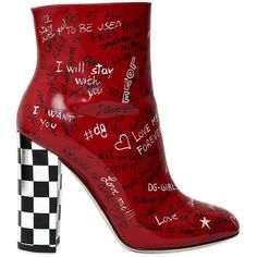 Dolce & Gabbana Women 105mm Graffiti Leather Ankle Boots (15.133.145 IDR) ❤ liked on Polyvore featuring shoes, boots, ankle booties, red, red ankle boots, high heel boots, red leather boots, leather high heel boots and short boots