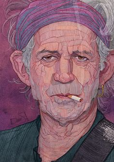 Using his unique style, Greek illustrator Stavros Damos created this cool series of portraits of The Rolling Stones.  More illustrations via Inspiration Hut