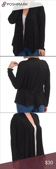 Black Tie-Waist Cardigan Sweater Very flattering and super comfy black cardigan with a cute tie feature at the waist. It is 96% rayon and 4% spandex. Bellino Clothing Sweaters Cardigans
