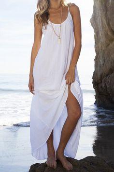 Stylish Spaghetti Strap Solid Color Open Back Women's Beach Dress Maxi Dresses | RoseGal.com Mobile