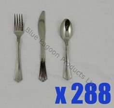 288 x Silver Plastic Metallic Cutlery Set Party Forks Spoons Disposable in Home, Furniture & DIY, Cookware, Dining & Bar, Cutlery | eBay