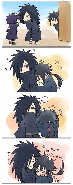 Madara and his brother Izuna. Izuna is jealous that Madara gave a pat on the head to someone else. Aww!!