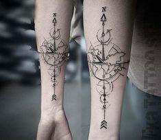 Compass tattoo by Kafka Tattoo Kompass Tattoo von Kafka Tattoo Map Tattoos, Neue Tattoos, Body Art Tattoos, Sleeve Tattoos, Tattoo Fonts, Finger Tattoos, Geometric Forearm Tattoo Designs, Compass Tattoo Design, Tattoo Designs Men