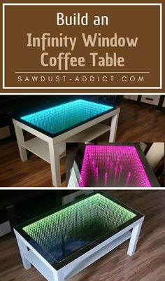 Build an Infinity Window Coffee Table Coffee Table Blueprints, Infinity Lights, Infinity Room, Infinity Mirror Table, Bed With Led Lights, Window Coffee Table, Diy Pallet Bed, Room Partition Designs, Led Diy
