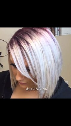 Violet root with intense silver ends. I'm so in love with this hair color and must have it now!