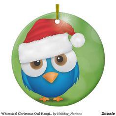 Whimsical Christmas Owl Hanging Ornament