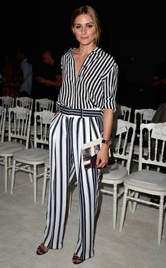 Olivia Palermo from Stars at Paris Haute Couture Fashion Week Fall 2015  Trés chic! Olivia turns these stripes into a style triumph at Giambattista Valli's show.