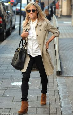 Chatty woman: Caroline Flack had been at the Radio 1 studios for a morning interview with Scott Mills
