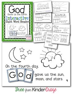 FREE Religious Emergent Reader - perfect for EARTH DAY and Creation!  From Kinder Craze.  Repinned from Faith Filled Freebies.  Charlotte
