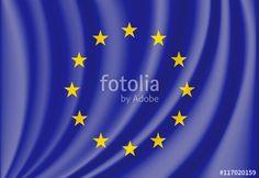 Vector: waving flag of european union