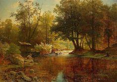 ALFRED WAHLBERG 1834-1906_Лесной пейзаж с мальчиками-рыбаками_Skogslandskap med fiskande gosse_Датировано 1864 годом