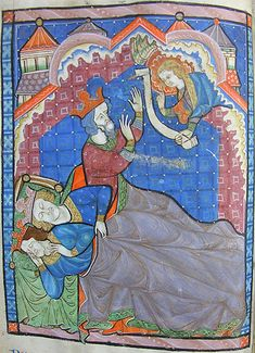 the Magi are warned -  MS K.26, one of a sequence of 46 Biblical illustrations (c.1270-80) inserted at the front of a fourteenth-century Psalter (English)