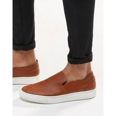 ASOS Slip On Plimsolls in Tan Leather ($22) ❤ liked on Polyvore featuring men's fashion, men's shoes, men's sneakers, tan, mens slip on sneakers, mens canvas slip on sneakers, mens leather slip on shoes, mens tan leather shoes and mens slip on shoes