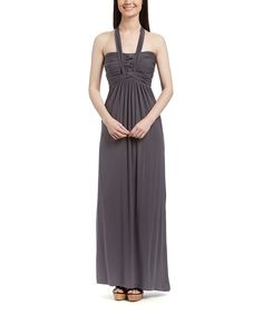 Look at this Charcoal Braided-Bodice Maxi Dress - Women on #zulily today!