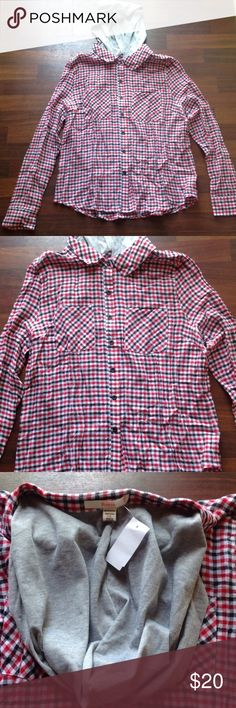 Top Flannel top with attached hood 100% cotton ... No stretch jr plus  2x fits 14/16 best Rosio Tops