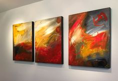 """'Fire Without'- 48"""" X 20"""" Original Paintings."""