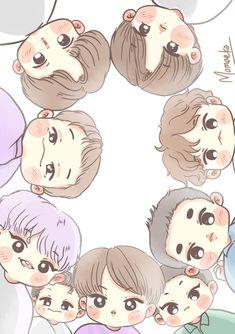 Exo Cartoon, Cartoon Drawings, Cartoon Art, Exo Kokobop, Kpop Exo, Sehun, Exo Nature Republic, Anime Kitten, Exo Stickers