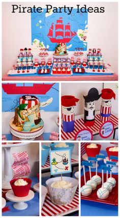 Here are some great boy birthday pirate party ideas, especially the pirate map birthday cake! See more party ideas at CatchMyParty.com. #pirate #boybirthday