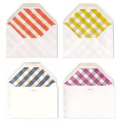 Gingham-lined envelopes by Stripe & Field (via eat drink chic)