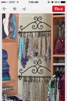 4dc84fafe441f Add An Extra Shower Curtain Rod To The Shower And Hang Caddies From It To  Save Space. Necklace StorageJewelry ...