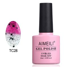 AIMEILI Soak Off UV LED Temperature Color Changing Chameleon Gel Nail Polish - Magenta to Transparent with Black Glitter (TC28) 10ml >>> You can find more details by visiting the image link.