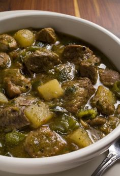 Green Chili Stew, I prefer ground meat but this is worth a try.