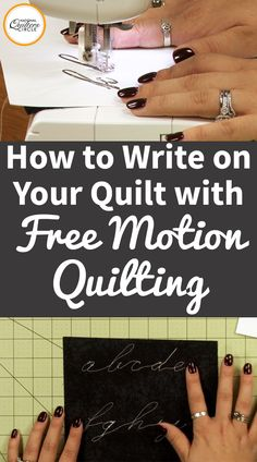 Free motion quilting is not only a great way to quilt your quilt but it can be a fun way to add a word, sentiment or signature to your next project. Ashley Hough shares some fun free motion quilting tips on how to practice 'writing' on your quilts. Free Motion Embroidery, Free Motion Quilting, Quilting Tips, Quilting Tutorials, Machine Quilting, Quilting Designs, Sewing Tutorials, Sewing Hacks, Sewing Tips
