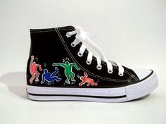 Items similar to Hand Painted Sneakers - Dancing people on Etsy Converse Chuck Taylor High, Converse High, High Top Sneakers, Painted Sneakers, Chuck Taylors High Top, High Tops, Hand Painted, Poses, Dance