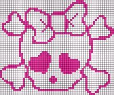 Alpha friendship bracelet pattern added by cute girl skull crossbones. Crochet Skull Patterns, Tapestry Crochet Patterns, Loom Patterns, Quilt Patterns, Cross Stitch Skull, Marvel Cross Stitch, Cross Stitching, Cross Stitch Embroidery, Cross Stitch Patterns