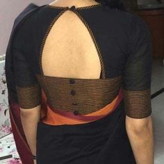 Ultimate Blouse Back Neck Designs Catalogue – 30 Ideas! Blouse Back Neck Designs, Simple Blouse Designs, Stylish Blouse Design, Black Blouse Designs, Patch Work Blouse Designs, Latest Blouse Designs, Indian Blouse Designs, Blouse Neck Patterns, Skirt Patterns
