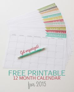 Free printable monthly calendar.