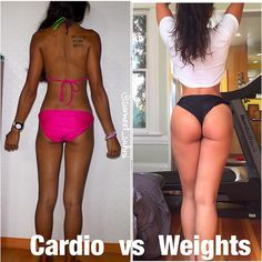 Cardio VS Weights #fitness #motivation #inspiration #fitbody #fitspo #transformation #progresspic #fit #healthy #buttworkout #buttexercises #strong #curves #hourglass