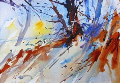 December Sun, Watercolour landscape by Adrian Homersham http://adrianhomersham.co.uk/
