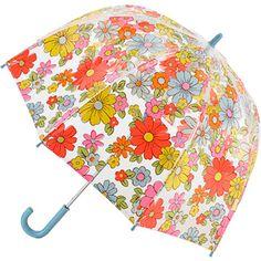 £12.00 Cath Kidston Funbrella Birdcage PVC See Through Dome Umbrella for Children - Petal Print White