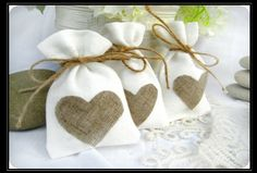 Cloth and Burlap wedding favor bags for coffee, tea, birdseed, flower seeds, etc.