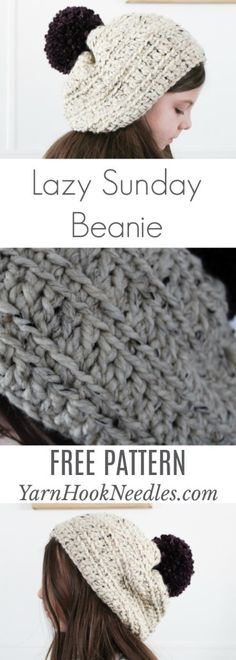 Lazy Sunday Crochet Beanie - MAKE THIS IN LESS THAN 1 HOUR!