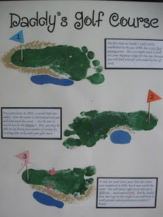 Father's Day golf course footprint art- I love her descriptions for each hole describing each child as well.